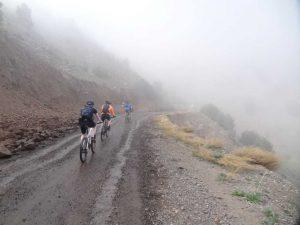 mountain bike in the mist